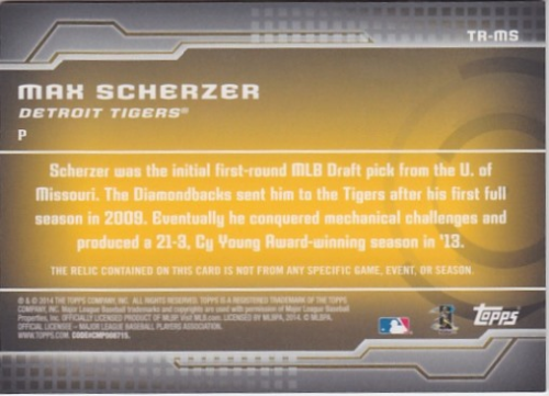 2014 Topps Trajectory Relics #TRMS Max Scherzer S2 back image