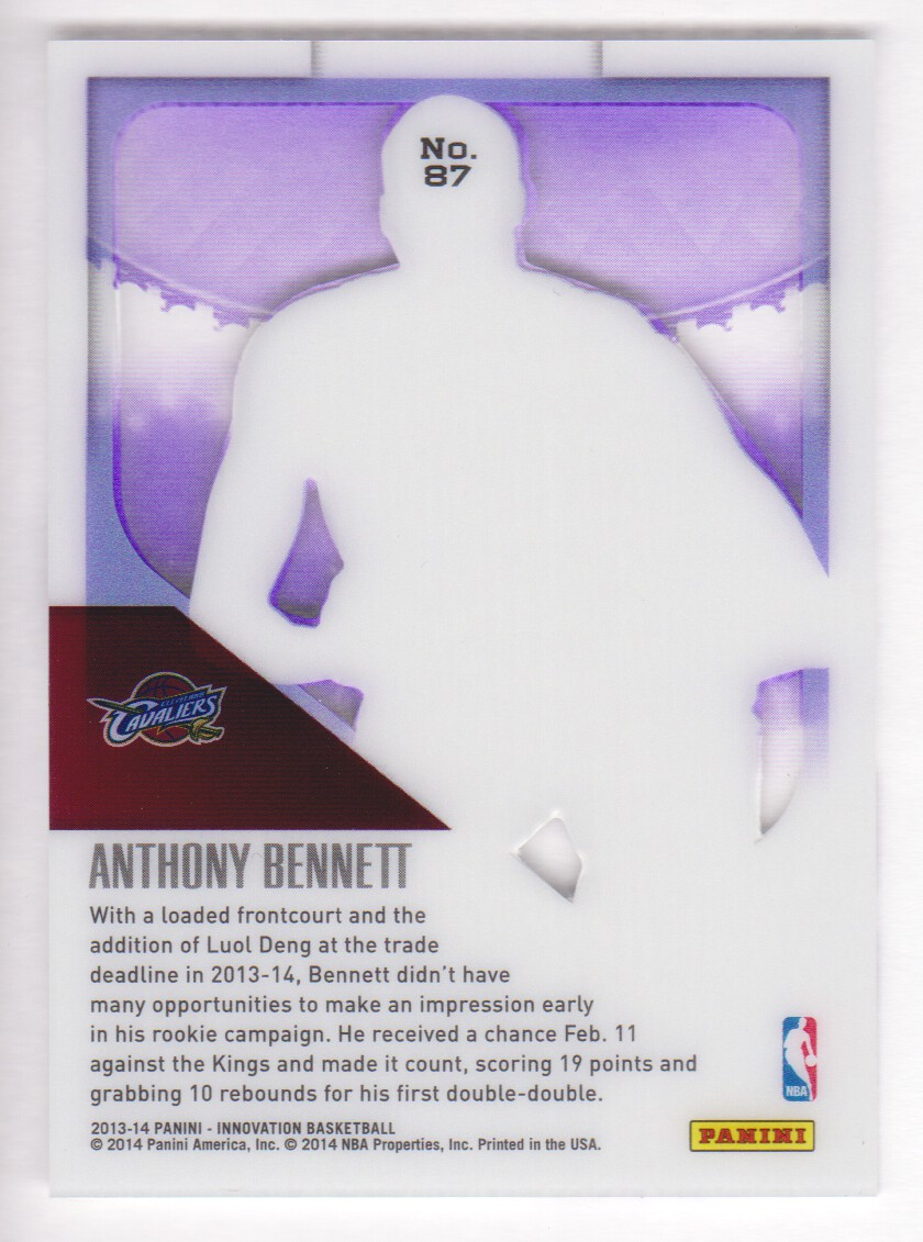 2013-14 Innovation Purple #87 Anthony Bennett back image
