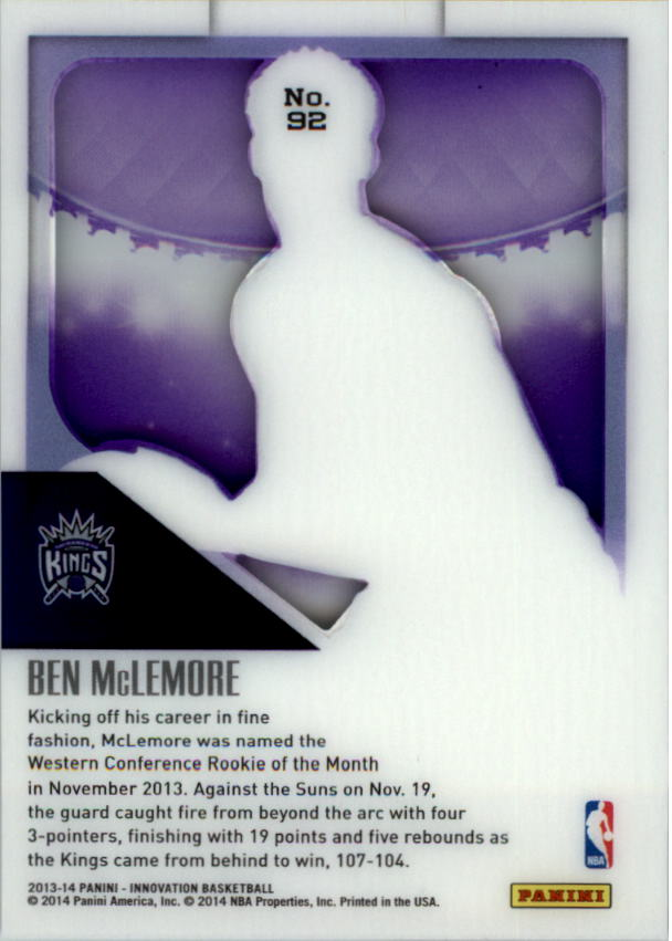 2013-14 Innovation Purple #92 Ben McLemore back image