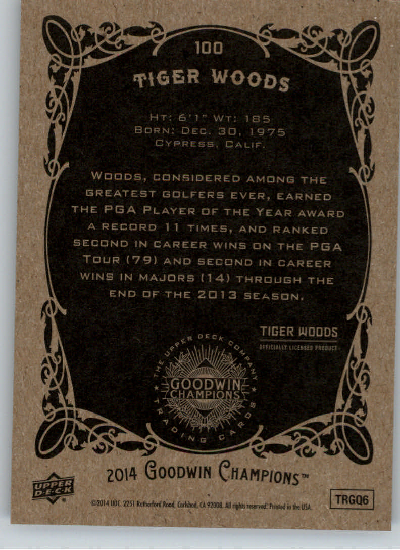 2014 Upper Deck Goodwin Champions #100 Tiger Woods back image