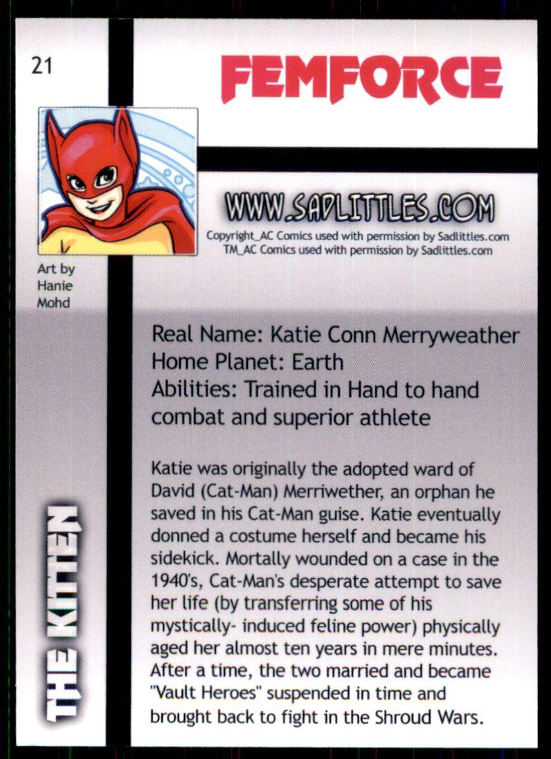 2011 FemForce #21 The Kitten back image