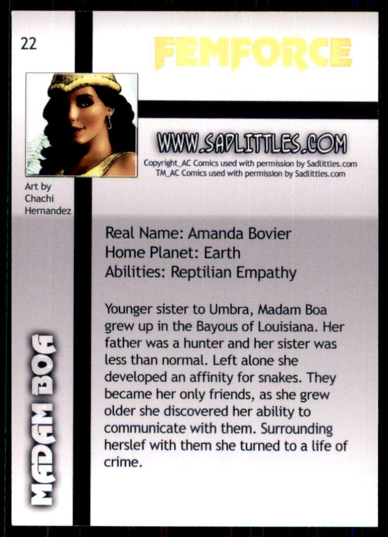 2011 FemForce #22 Madam Boa back image