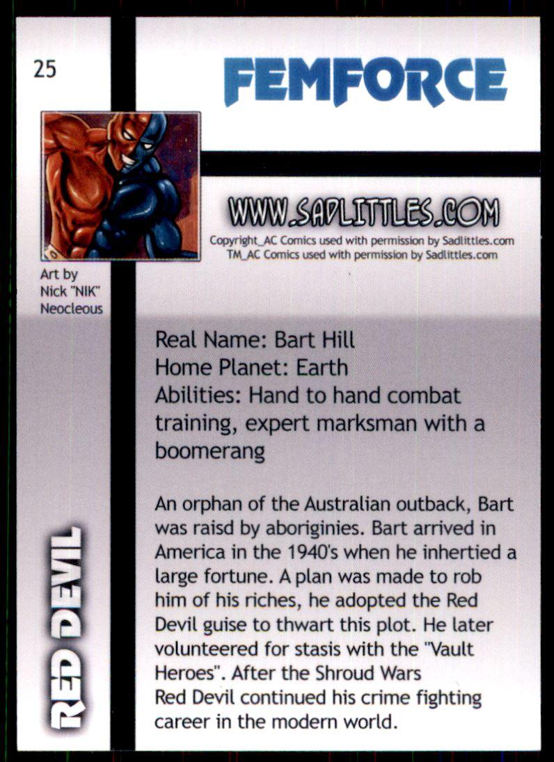 2011 FemForce #25 Red Devil back image