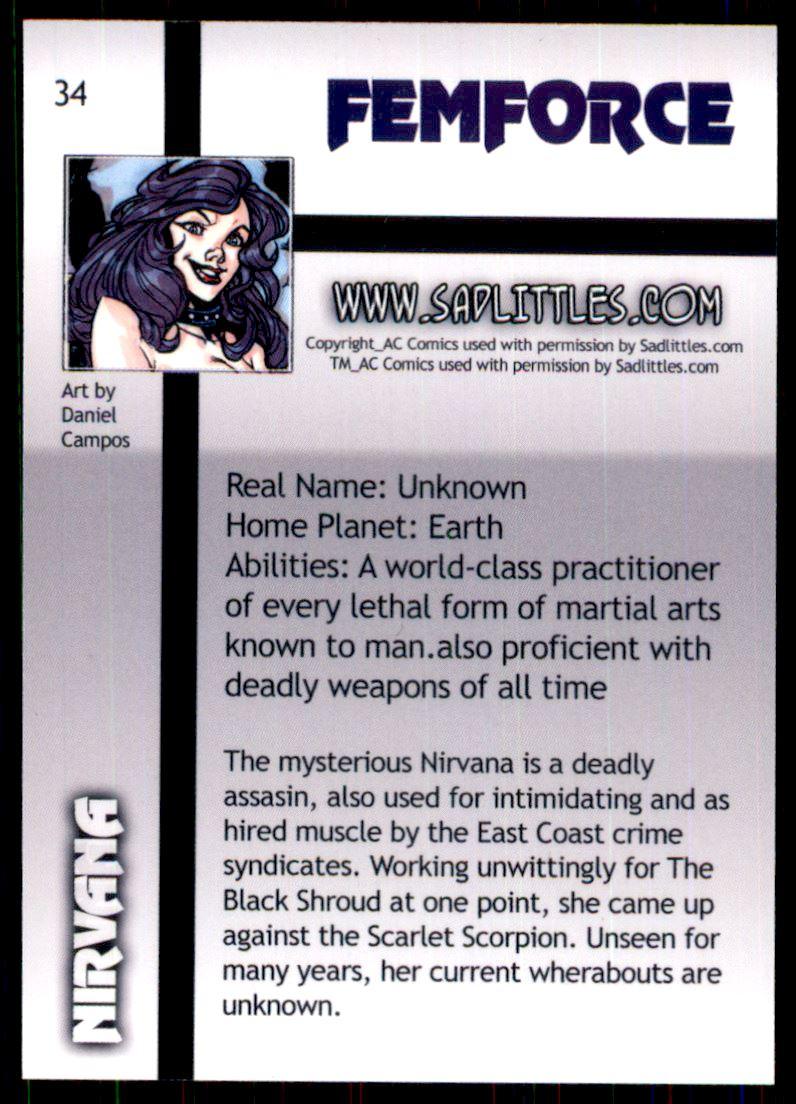 2011 FemForce #34 Nirvana back image