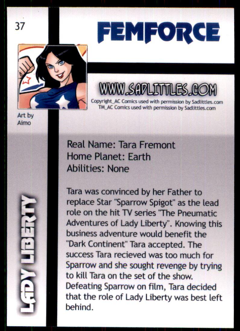 2011 FemForce #37 Lady Liberty back image
