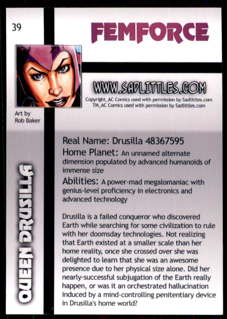 2011 FemForce #39 Queen Drusilla back image