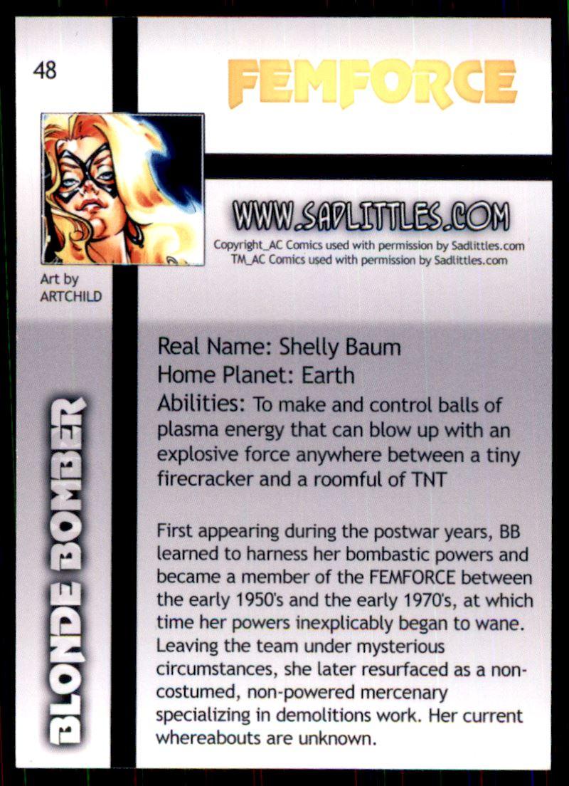 2011 FemForce #48 Blonde Bomber back image