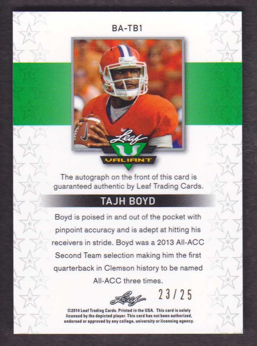 2014 Leaf Valiant Draft Purple #BATB1 Tajh Boyd back image