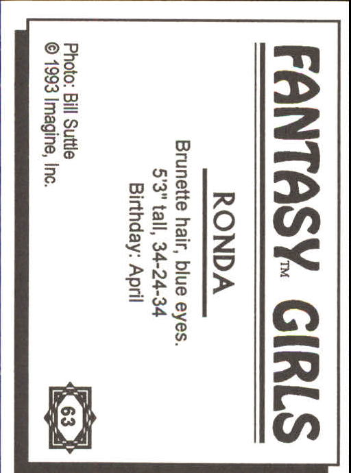 1993 Fantasy Girls I #63 Ronda AU back image