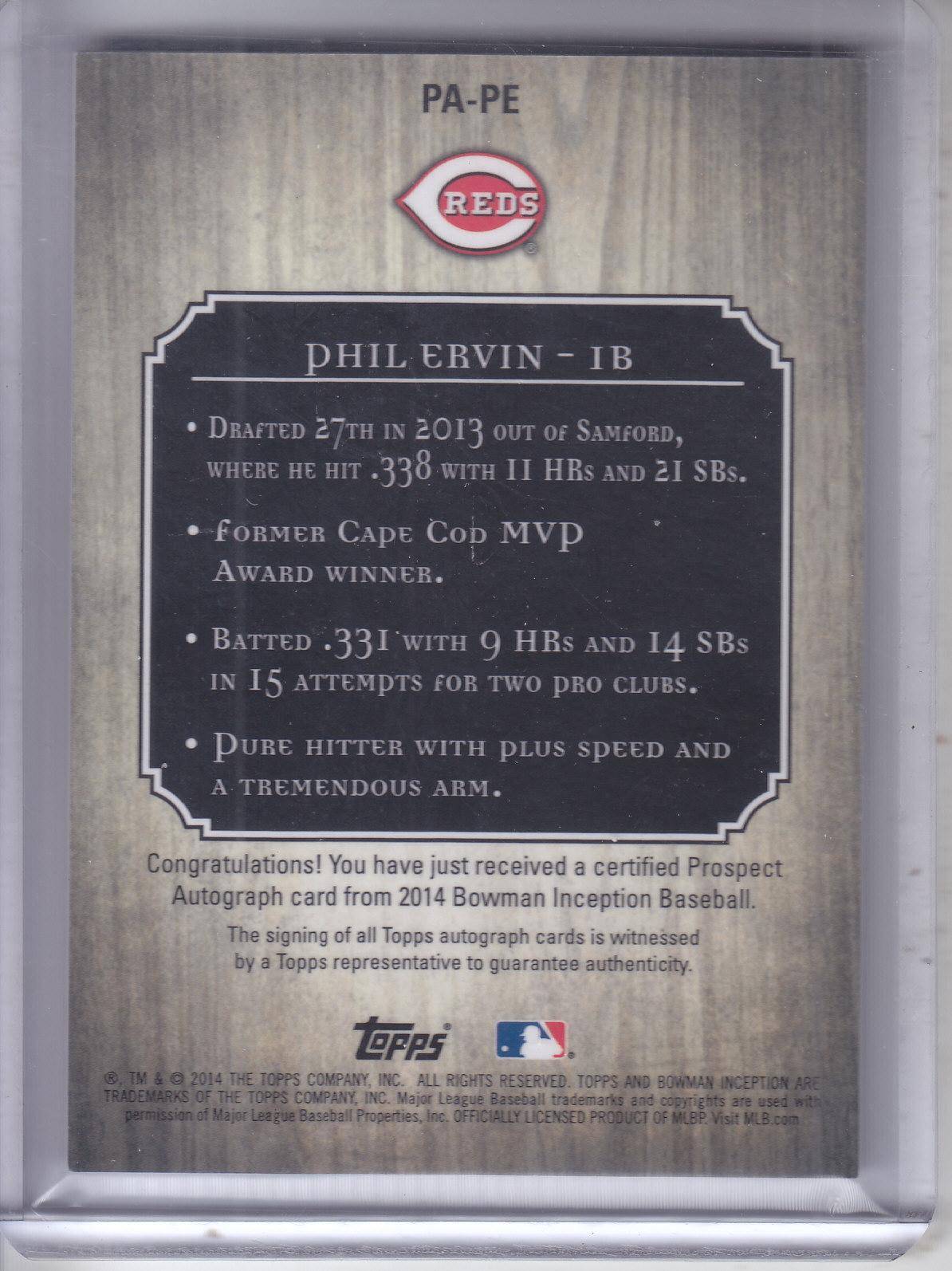 2014 Bowman Inception Prospect Autographs Gold #PAPE Phil Ervin back image
