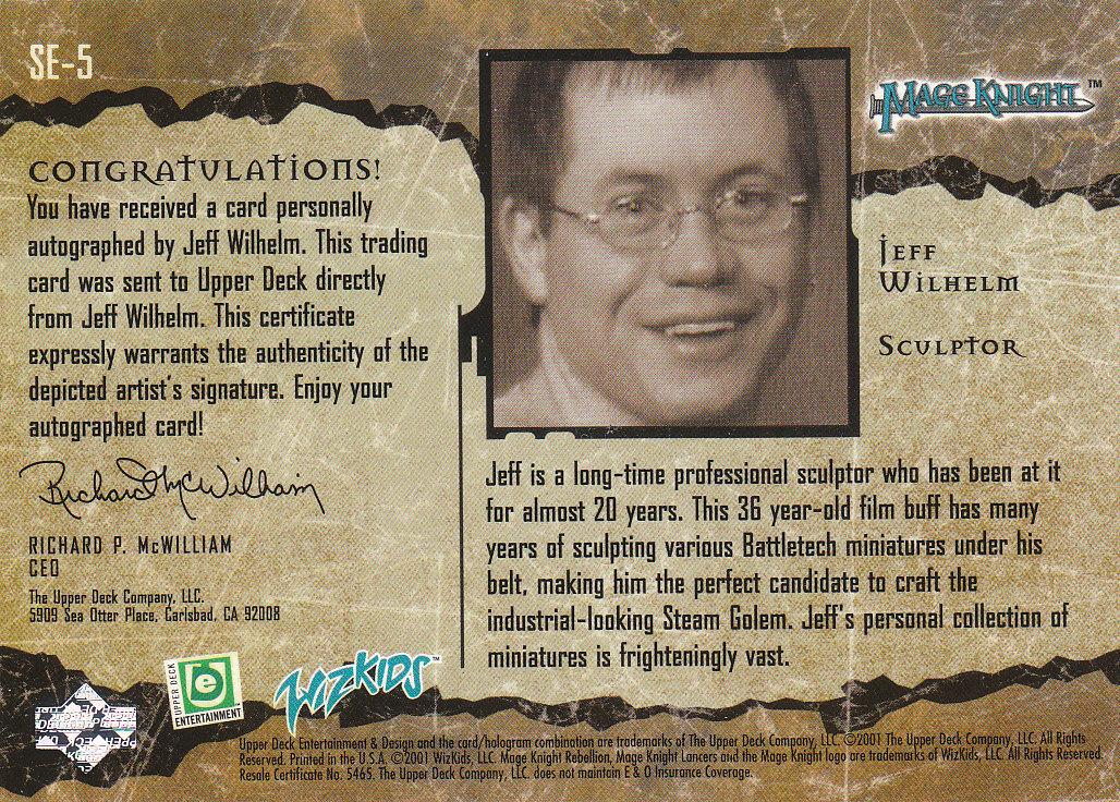 2001 Mage Knight Signatures #SE5 Jeff Wilhelm back image