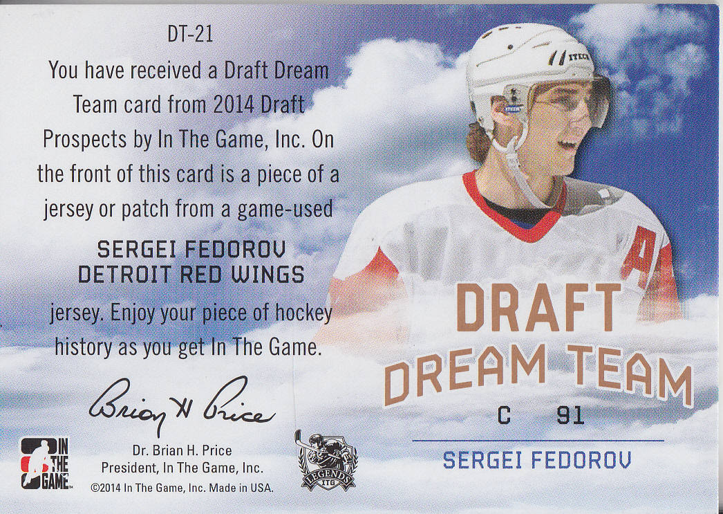 2014-15 ITG Draft Prospects Draft Dream Team Jerseys Bronze #DT21 Sergei Fedorov back image