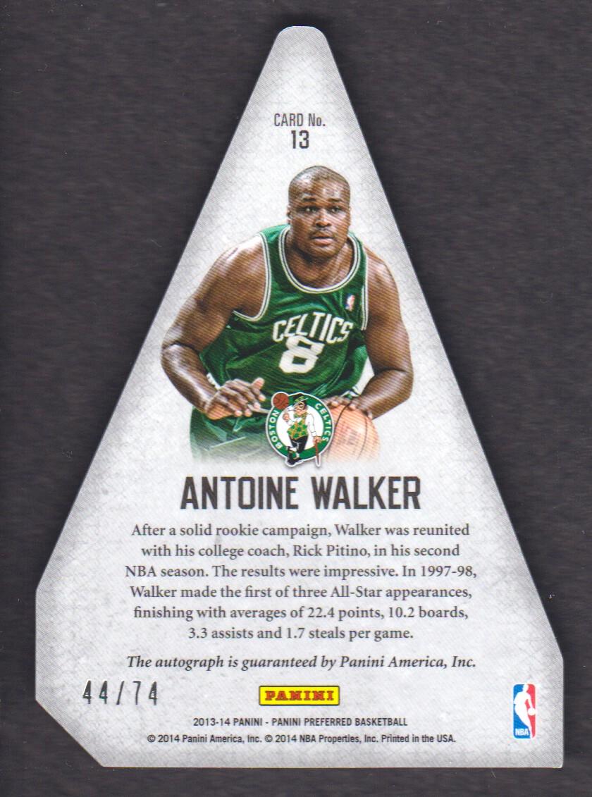 2013-14 Panini Preferred #13 Antoine Walker PC AU/74 back image
