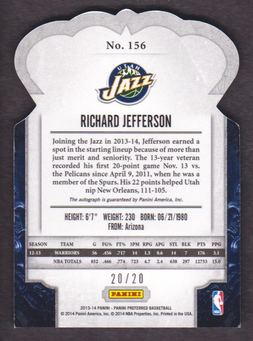 2013-14 Panini Preferred #156 Richard Jefferson CR AU/20 back image