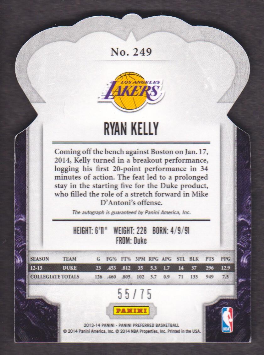 2013-14 Panini Preferred #249 Ryan Kelly CR AU/75 back image