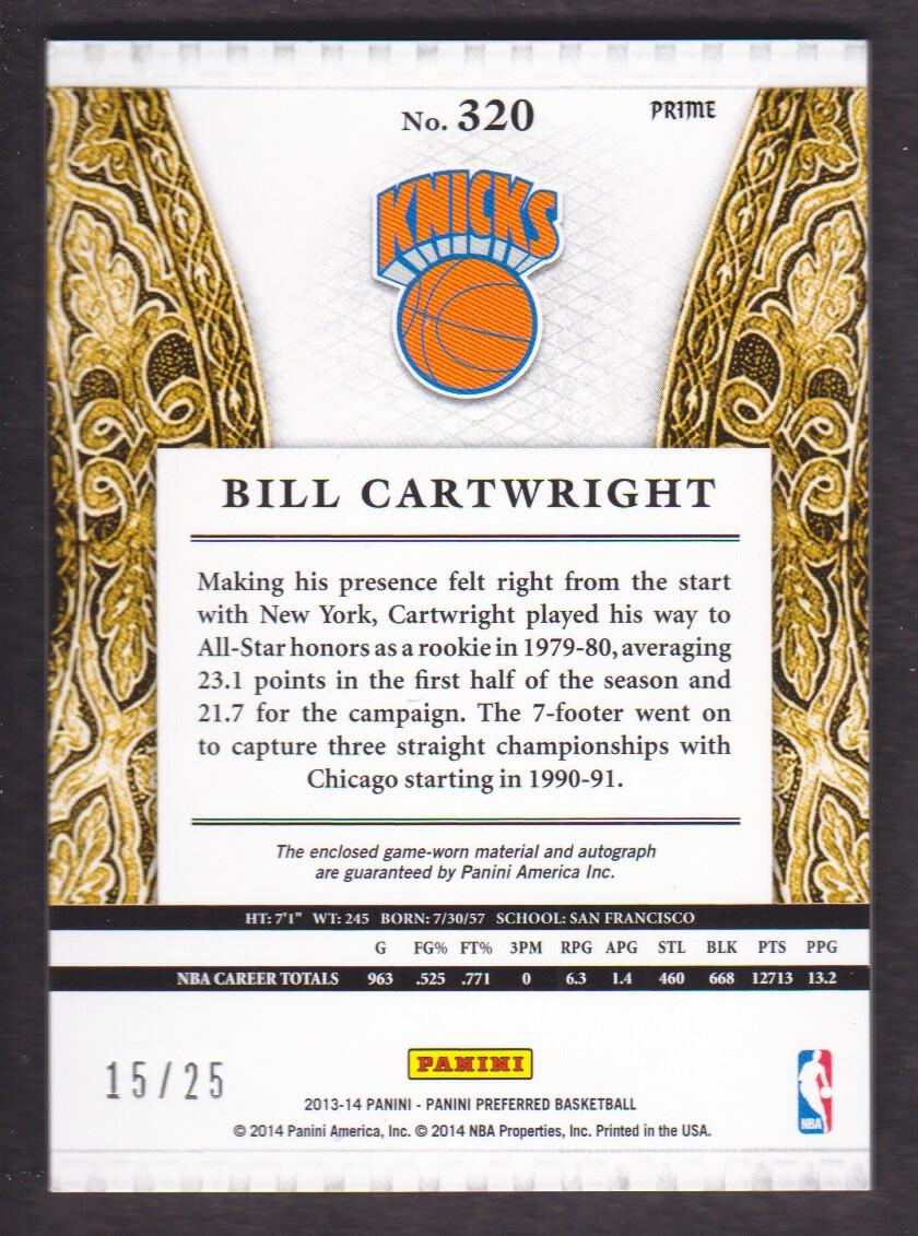 2013-14 Panini Preferred Silhouettes Prime #320 Bill Cartwright/25 back image