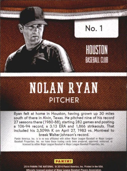 Verzamelkaarten, ruilkaarten 2015 Panini National Convention VIP #57 Nolan Ryan Texas Rangers MultiSport Card