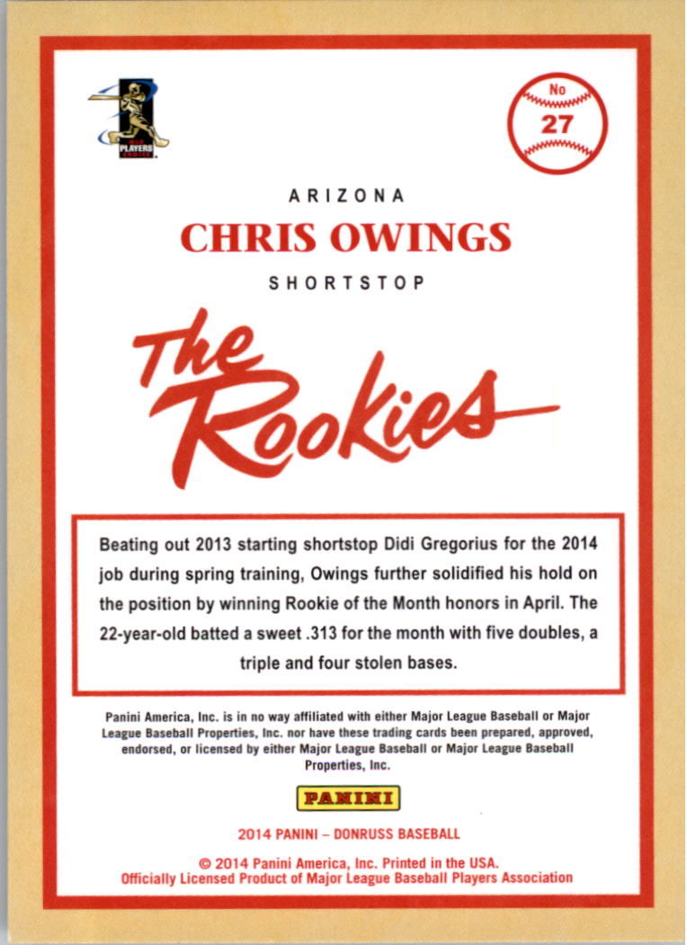 2014 Donruss The Rookies #27 Chris Owings back image