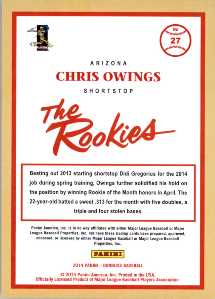 2014 Donruss The Rookies Stat Line Career #27 Chris Owings/400 back image