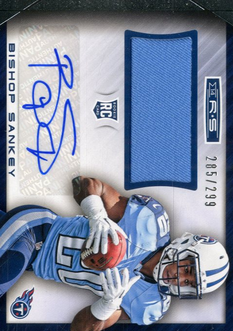 2014 Rookies and Stars Rookie Jersey Autographs #RMBS Bishop Sankey/299 back image