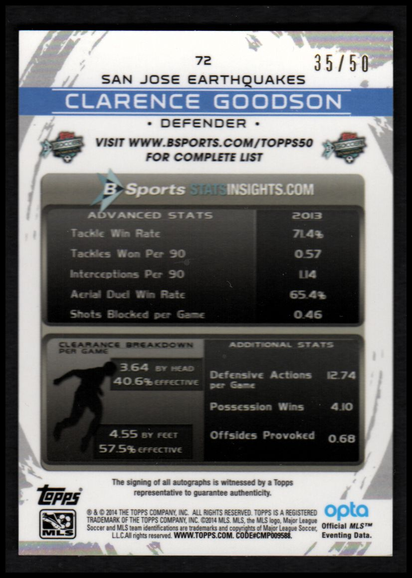 2014 Topps Chrome MLS Autographs Gold Refractors #72 Clarence Goodson back image
