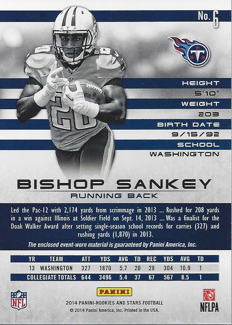 2014 Rookies and Stars Rookie Materials Longevity Ruby #RMBS Bishop Sankey back image