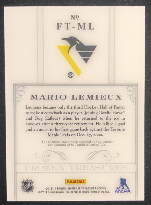 2013-14 Panini National Treasures Frozen Treasures Jersey Autographs #10 Mario Lemieux/15 back image