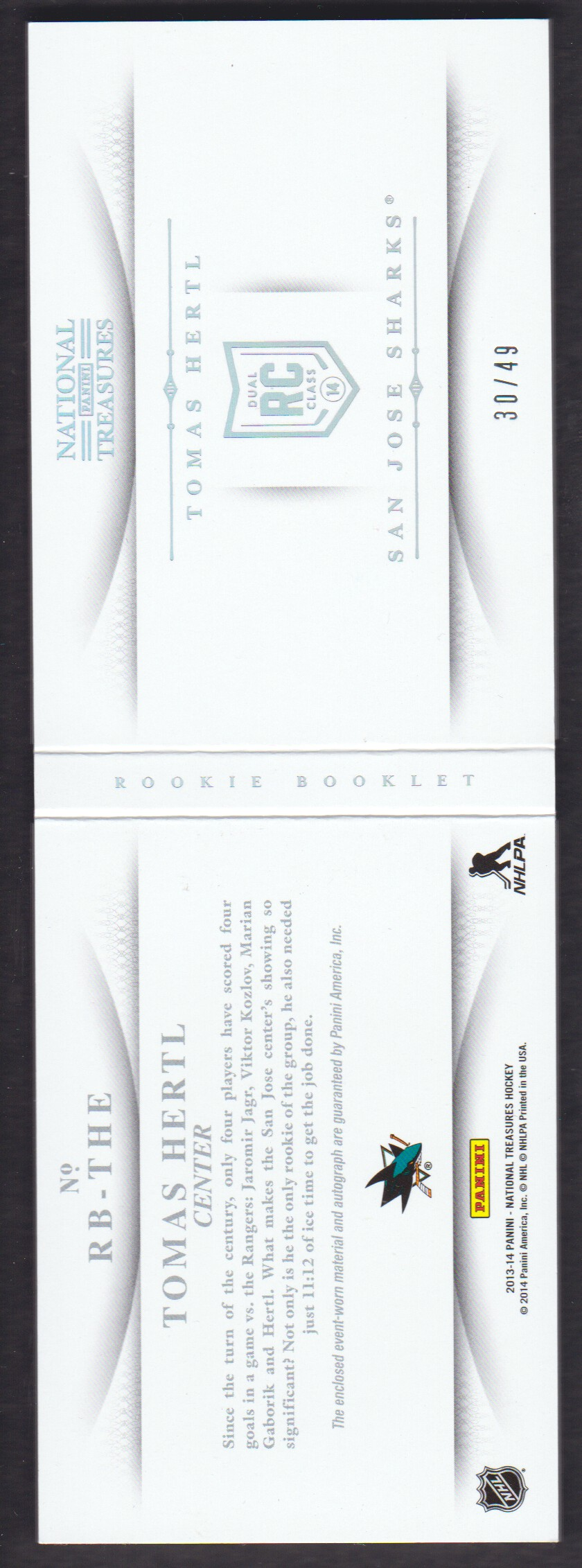 2013-14 Panini National Treasures Rookie Jumbo Jerseys Booklet Autographs Prime #3 Tomas Hertl back image