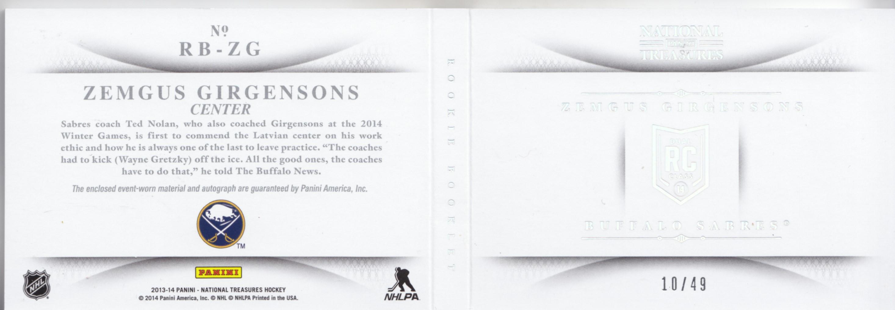 2013-14 Panini National Treasures Rookie Jumbo Jerseys Booklet Autographs Prime #18 Zemgus Girgensons back image
