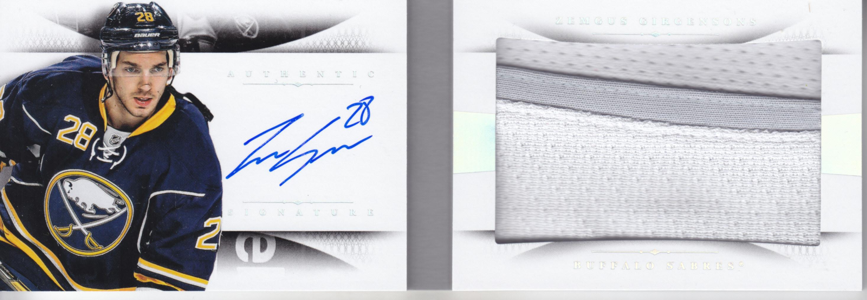 2013-14 Panini National Treasures Rookie Jumbo Jerseys Booklet Autographs Prime #18 Zemgus Girgensons