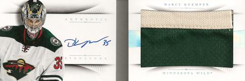 2013-14 Panini National Treasures Rookie Jumbo Jerseys Booklet Autographs Prime #28 Darcy Kuemper