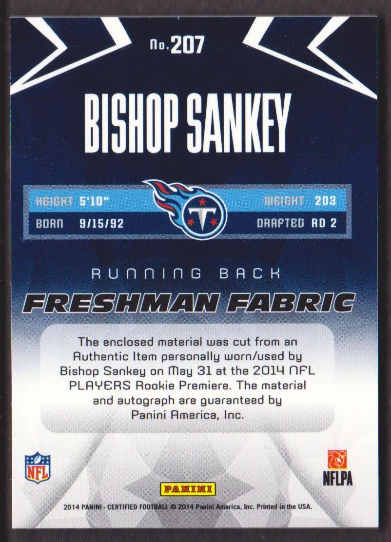 2014 Certified Blue #207 Bishop Sankey JSY AU/99 back image
