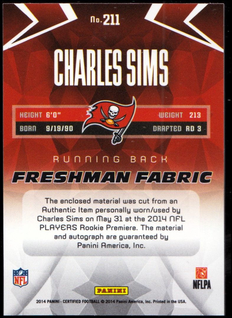 2014 Certified Red #211 Charles Sims JSY AU/249 back image