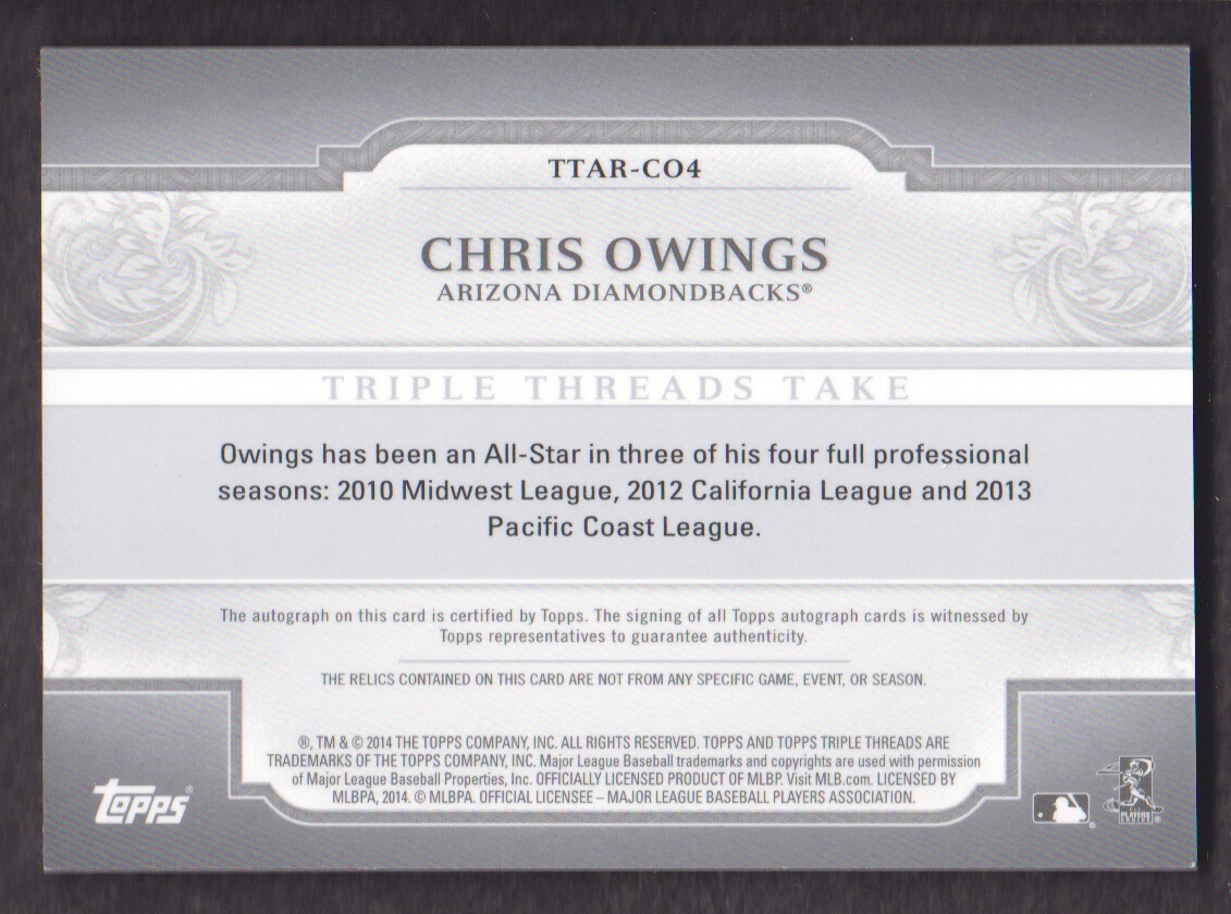 2014 Topps Triple Threads Relic Autographs #TTARCO4 Chris Owings back image