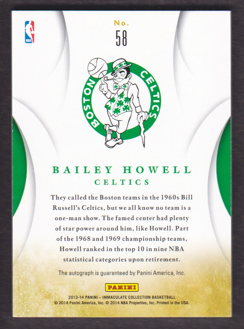2013-14 Immaculate Collection Ink Gold #58 Bailey Howell back image