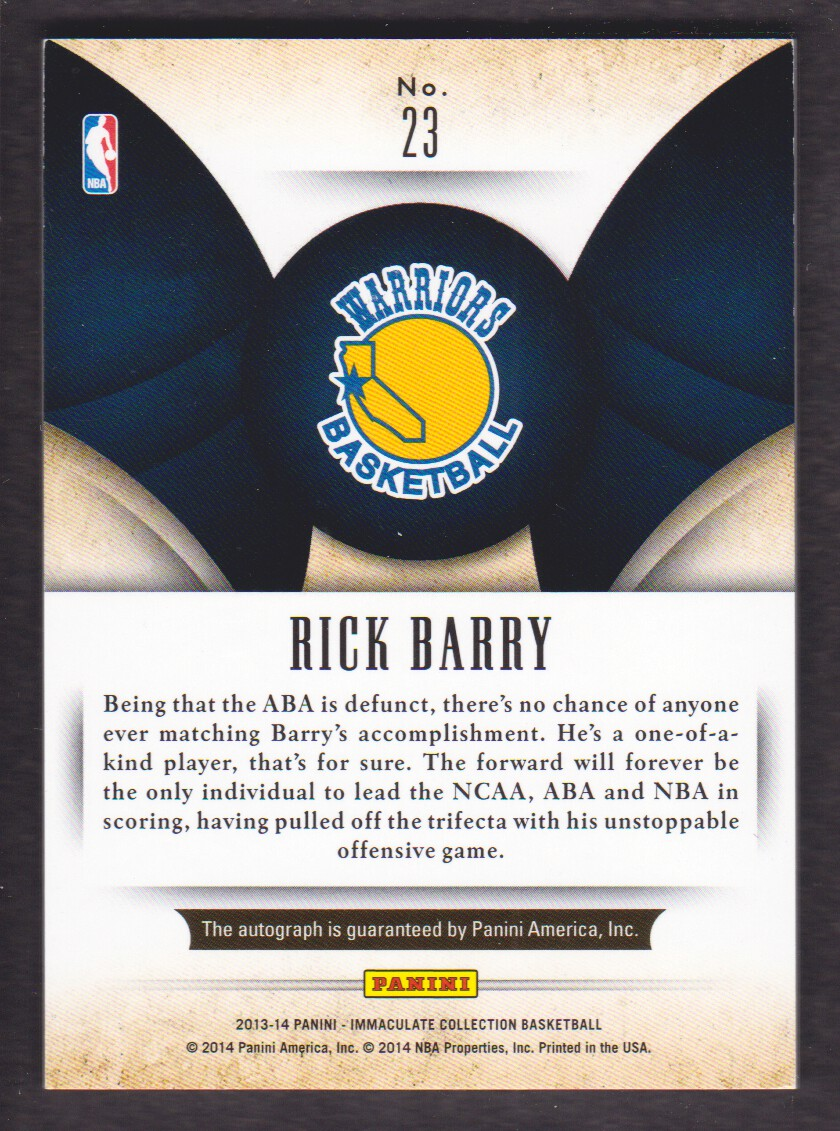 2013-14 Immaculate Collection Scorers Club Autographs #23 Rick Barry/60 back image