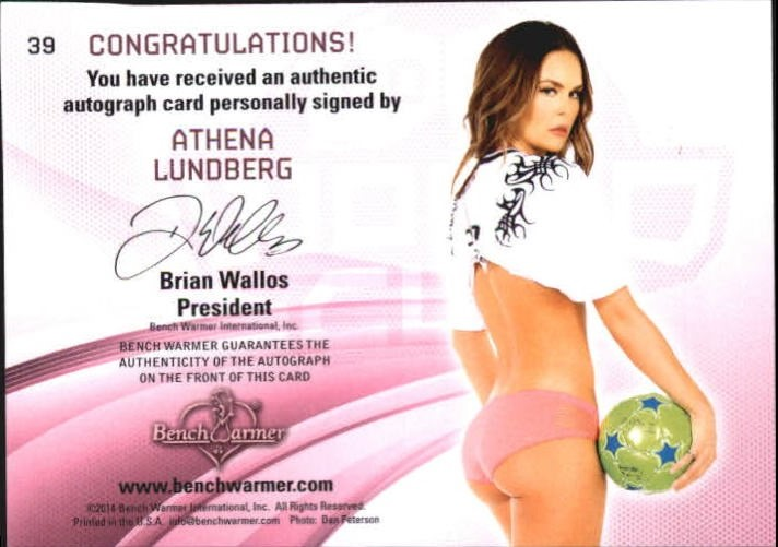 2014 Bench Warmer Soccer World Cup Autographs #39 Athena Lundberg back image