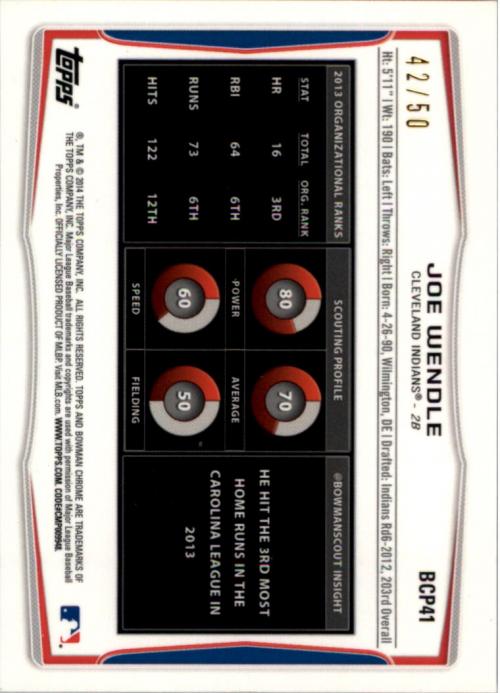 2014 Bowman Chrome Prospects Series 2 Gold Refractors #BCP41 Joe Wendle back image