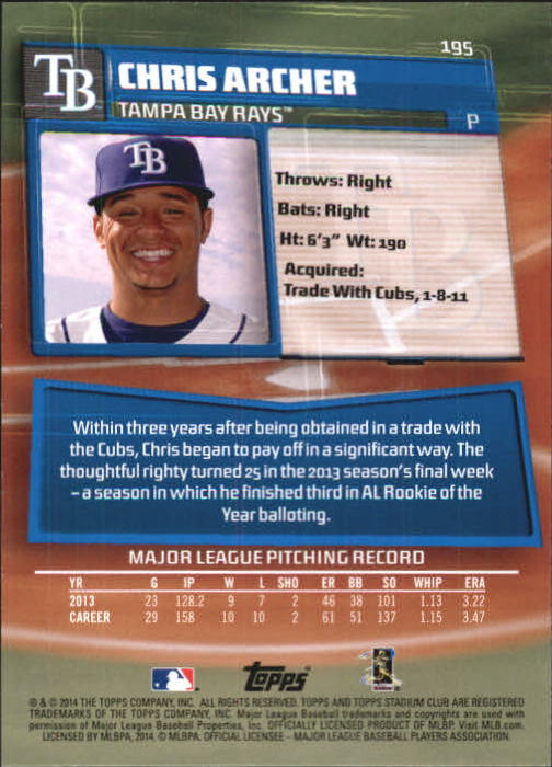 Sports Trading Cards & Accessories 2016 Topps Stadium Club #25 Chris Archer Tampa Bay Rays Baseball Card