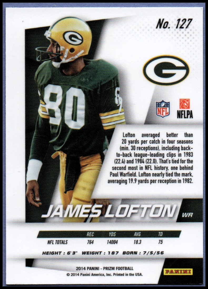 2014 Panini Prizm #127 James Lofton back image