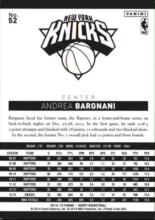 2014-15 Hoops Red #52 Andrea Bargnani back image