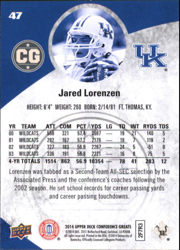 2014 Upper Deck Conference Greats Copper #47 Jared ...