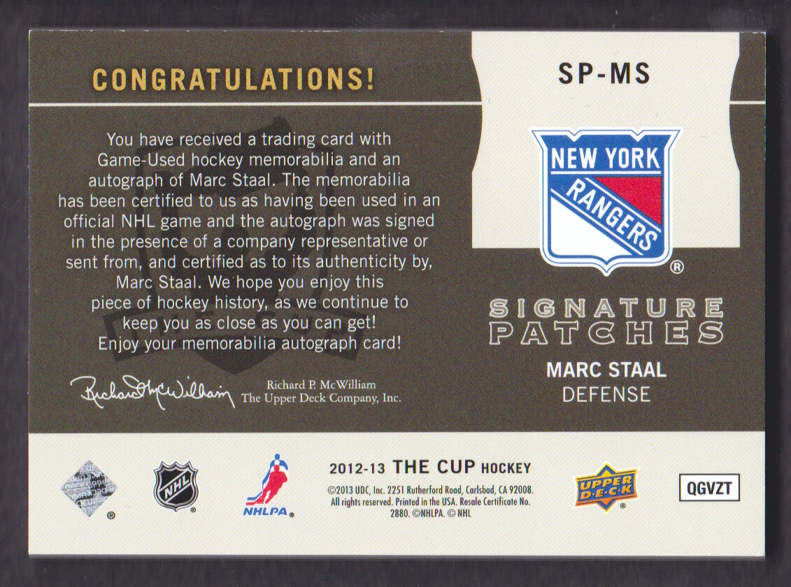 2012-13 The Cup Signature Patches #SPMS Marc Staal/99/(inserted in 13-14 The Cup) back image