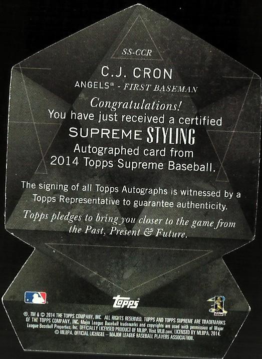 2014 Topps Supreme Supreme Styling Autographs Sepia #SSCCR C.J. Cron back image