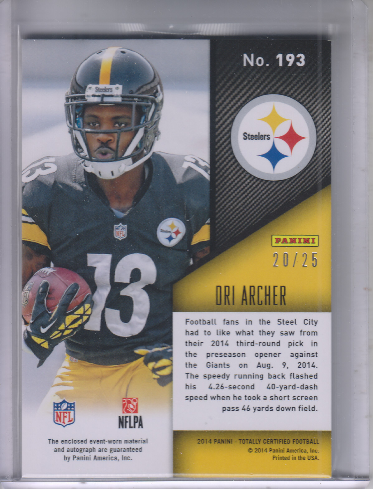 2014 Totally Certified Rookie Autograph Jerseys Mirror Red #193 Dri Archer back image