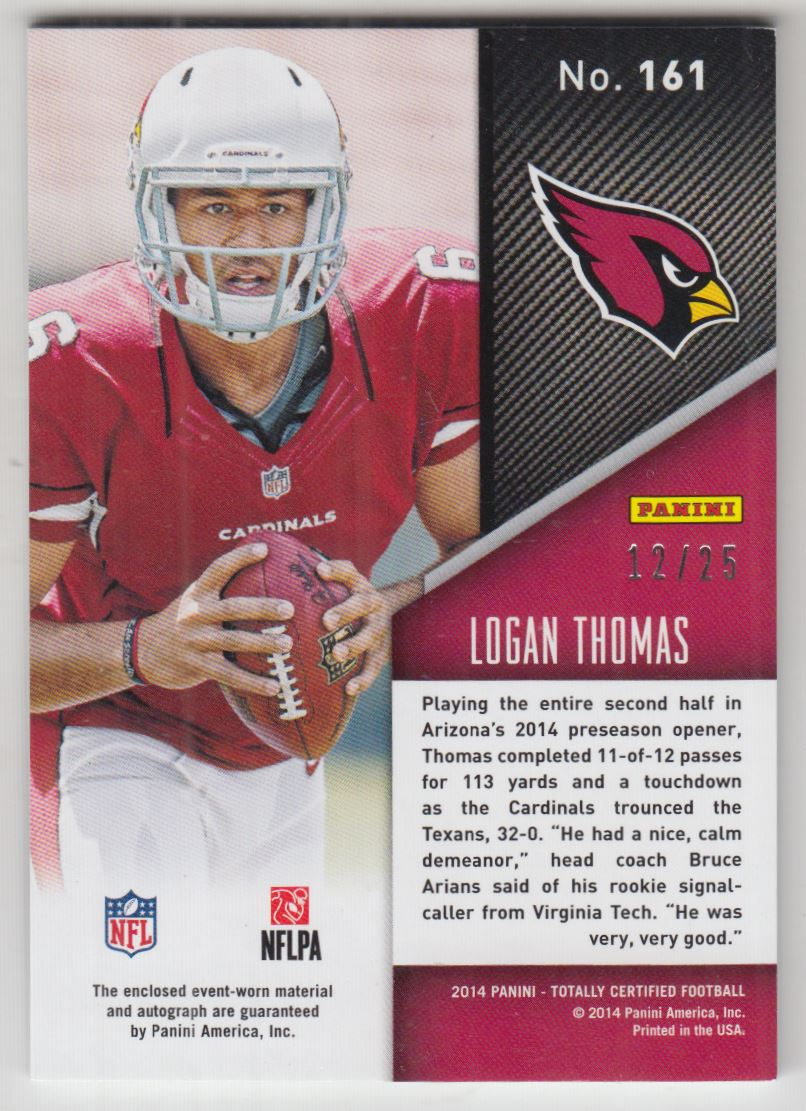 2014 Totally Certified Rookie Autograph Jerseys Prime Platinum Blue #161 Logan Thomas/25 back image