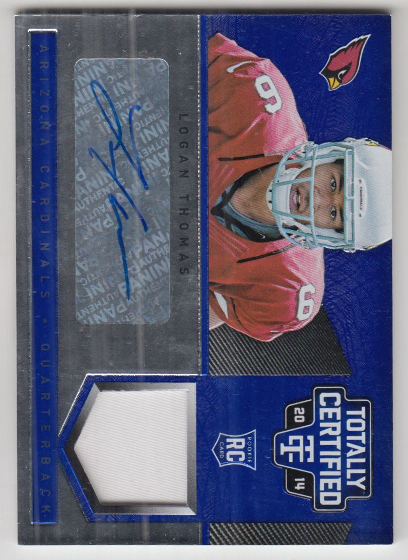 2014 Totally Certified Rookie Autograph Jerseys Prime Platinum Blue #161 Logan Thomas/25