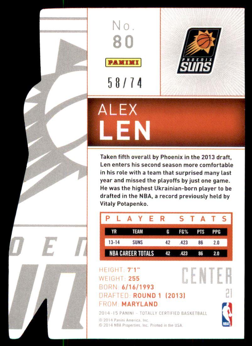 2014-15 Totally Certified Platinum Mirror Blue Die Cuts #80 Alex Len back image