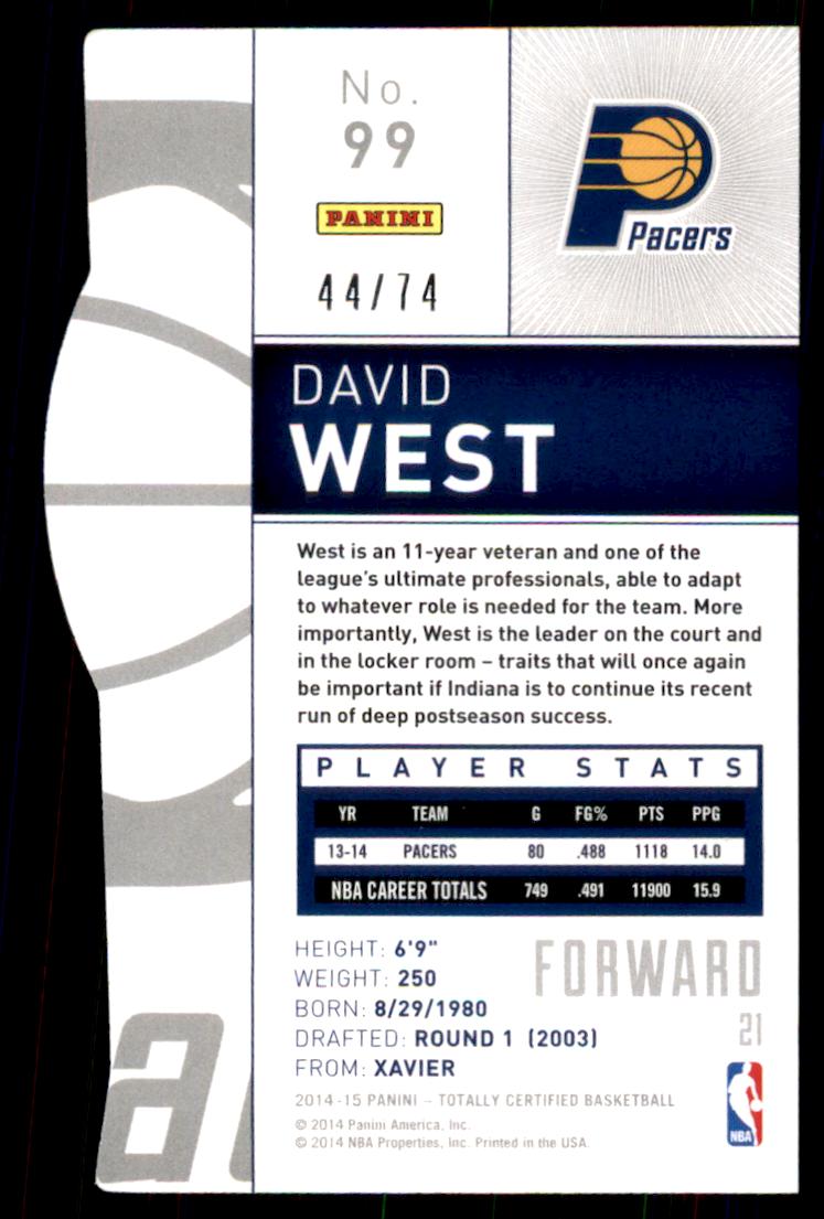 2014-15 Totally Certified Platinum Mirror Blue Die Cuts #99 David West back image