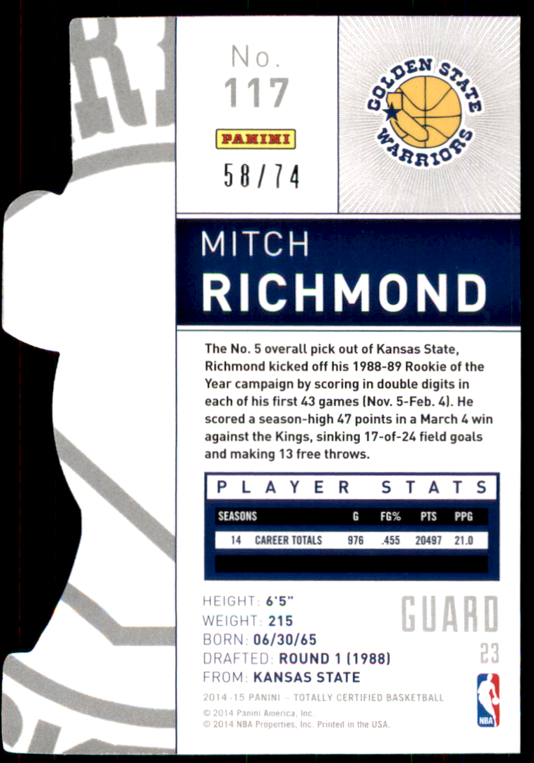 2014-15 Totally Certified Platinum Mirror Blue Die Cuts #117 Mitch Richmond back image